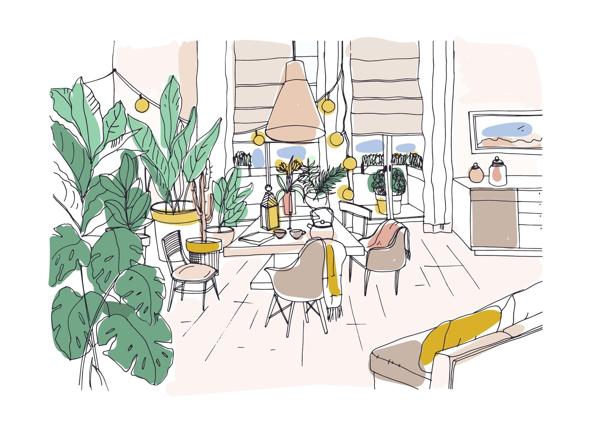Illustration coloré d'un environnement de maison saine